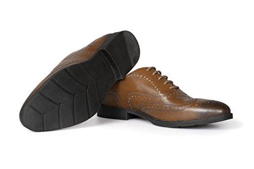 VILEANO Herren Business-Schuhe Budapester Lederschuhe Anzugschuhe Schuhe, aus edlem Leder Cognac