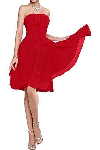TOSKANA BRAUT Festlich Traegerlos Chiffon A-Linie Abschlusskleider KnieKnielang Cocktail Kurz Abendkleider Partykleider Rot