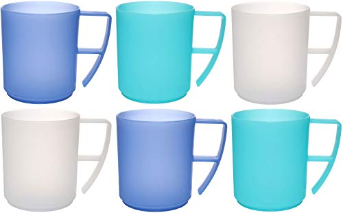 idea-station NEO plastic cups 6 pieces, 350 ml, ice blue, reusable, shatterproof, handles, coffee, tea, mug, tumblers, beaker, party, camping, picnic, kids, childrens