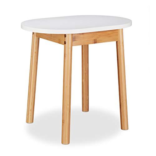 Relaxdays Sitzhocker weiß, vielseitig nutzbar, Bambus Tritthocker, Deko Blumenhocker, HxBxT: 42 x 46 x 30 cm, natur-weiß