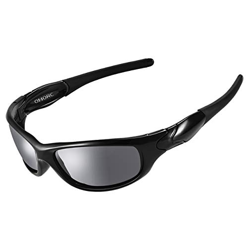 OMORC Occhiali da Sole da Uomo Polarizzati Sportivi 100% UV400 Protezione, con TR90 Telaio Durevole, per Running Montagna Bici Moto Driving Golf Pesca, Nero