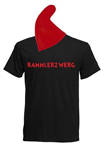 aprom Zwergen T-Shirt Kostüm mit Mütze div. Motive zur Auswahl - Fasching JGA Sheriff Gruppenkostüm Karneval Zwerg (S, Schwarz - Rammlerzwerg)