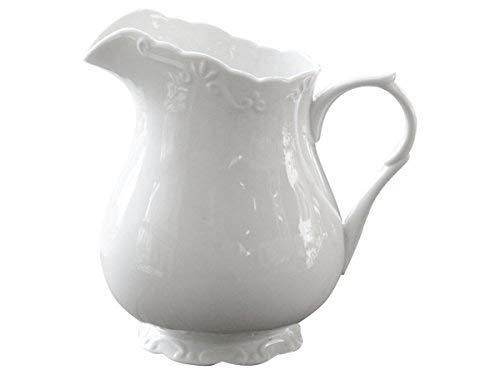 Chic Antique | Edle Kanne Kännchen Milchkanne Wasserkrug | H 18 cm 1 Liter | 100% Porzellan Weiß |...