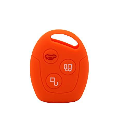 periwinkLuQ 3 Tasten Silikon Autoschlüssel Schutz Hülle Autoschlüssel Cover Autoschlüssel Halter Universal Zubehör für Ford Mondeo Focus Orange