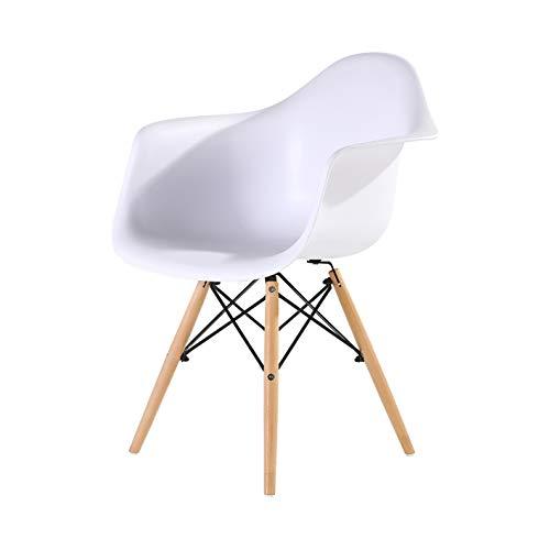 Chaises Design Chaise en polypropylène et Bois de hêtre Blanc 61 x 63 x 80 cm