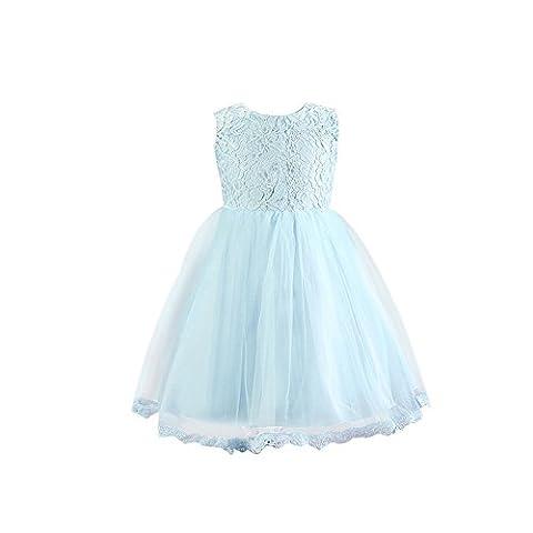 Feicuan Prinzessin Kleid Mit Bowknot A-Line Festlich Abendkleid für Mädchen 0-24 Monate /2-6 Jahren