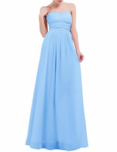 Freebily Damen Kleider Bandeau Kleid Maxi Kleider trägerlose Abendkleider Ballkleid Cocktailkleid Hochzeit Brautjungfer Keid lang in Grö. EU 36-46 Hell Blau