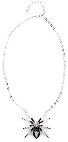 com-four® Edle und leicht gruselige Halskette mit einem Spinnenanhänger, Farbe: silberfarben, Gesamtlänge: 34 cm (Spinne - schwarz)