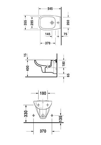 Duravit Wand-Bidet D-CODE 355 x 545 mm 1 HL we 2257150000