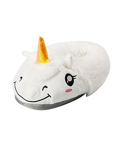 AKAAYUKO Zapatillas de Unicornio Blanco Felpa Pantuflas Animales