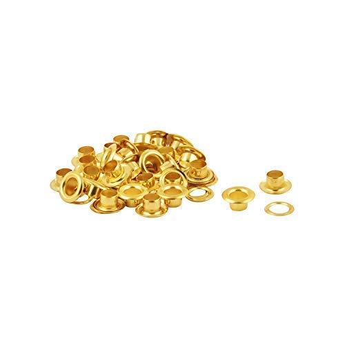 Trimming Shop Bronze Bügeln Ösen Ösen mit Scheiben für Bekleidung, Leder Arbeit, Scrapbooking, Kunst und Handwerk, 100 Stück - Gold, 6MM -
