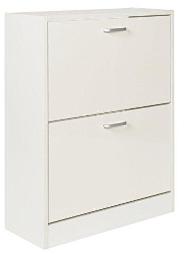 Ts-ideen scarpiera salvaspazio 81x63 cm in bianco lucido stile moderno con due scomparti ad anta basculante