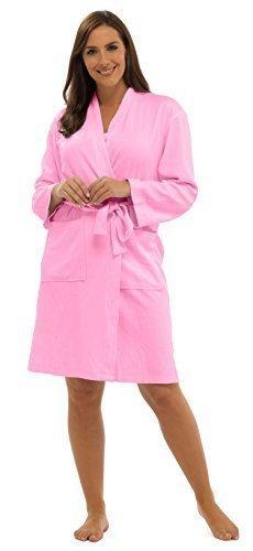 Lora Dora Womens 100% Baumwolle Waffel Bademantel + Gürtel Bademantel Hausmantel Damen Größe UK 8-16 - Rosa, Pink (Womens Dora)