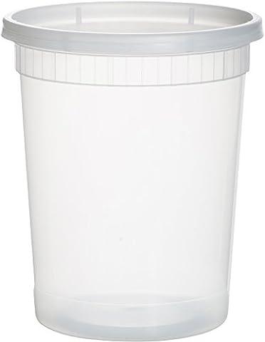 paksh Neuheit Kunststoff-Behälter für Mittagessen/Große Food Container mit Deckel, Auslaufsicher, Mikrowelle, Gefrierschrank & spülmaschinenfest, 32Unze, 24Stück