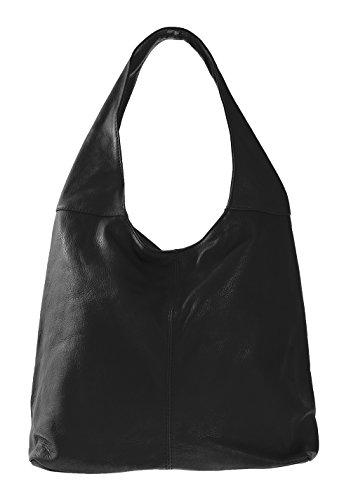 CTM femme sac à bandoulière sac à fermeture éclair dans la main, 41x55x12cm, en cuir véritable 100% Made in Italy