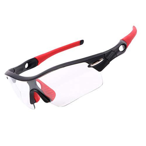 Providethebest Rad up Sport Photochromic Polarisations-Brille Radfahren Brillen Fahrrad Glas Reiten Unisex Bike Sonnenbrillenrot