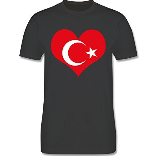Länder - Türkei Herz - Herren Premium T-Shirt Dunkelgrau