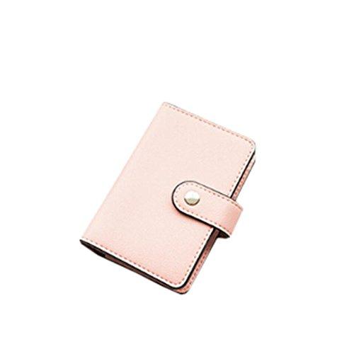 sunnymi Fashion Top Leder Große Kapazität ★ Kartentasche ★Candy Color Bank Kreditkarten/24 Seiten 2 Führerschein (Rosa) Leder Bett-bank