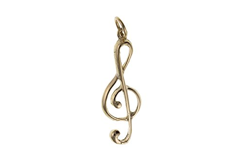 9kt Oro Chiave di violino musica Medaglia Ciondolo au0264