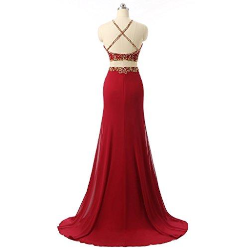 Fanciest Women's Beaded Chiffon Lang Two Pieces Abendkleid Dresses Mermaid Formal Kleid Purple