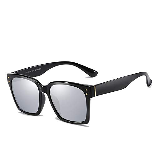 WULE-Sunglasses Unisex Allzweck-Rahmen Sonnencreme UV400 Square Sonnenbrille Polarisiertes Licht Driving Riding Classic Style (Color : Bright Black+White)