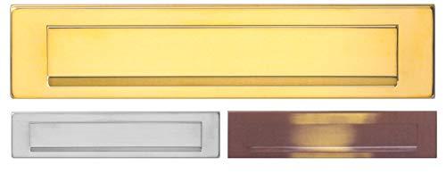 Außen Briefeinwurf=340 x 80 mm-Mess.pol.-brüniert-Chrom-Mattchrom-Edelstahl silber matt gebürstet-Briefklappe-Briefkasten-Briefschlitz (340 x 80 mm, Messing poliert)