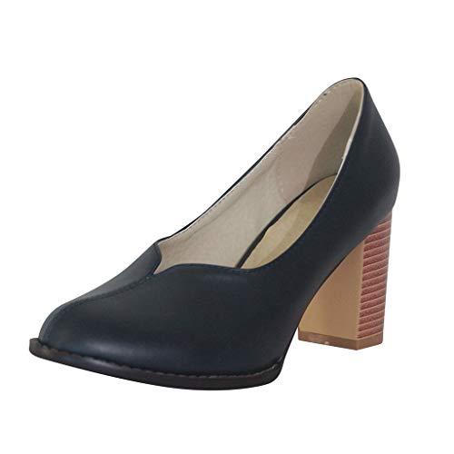 High Heeled Pumps für Damen/Dorical Frauen Pump Geschlossene Damenschuhe mit Blockabsatz Pointed Toe Retro Bequem Sandalen Übergröße Ausverkauf(Blau,36 EU)