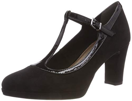 Tamaris Damen 24413-31 T-Spangen Pumps, Schwarz (Black 1), 41 EU