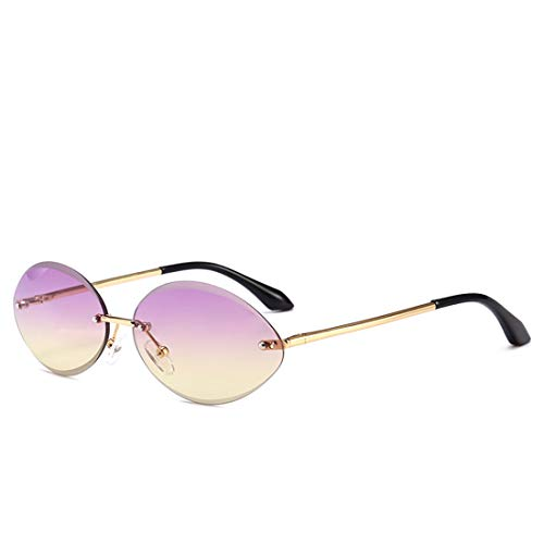 UV-Schutz Frameless Small Oval Narrow Design Sonnenbrillen für Damen Herren. Brille (Farbe : Lila)