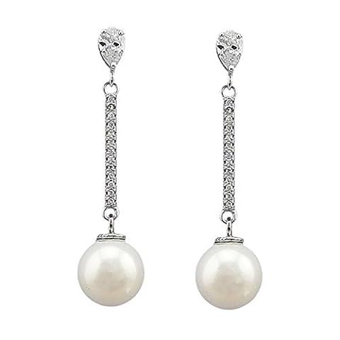 SELOVO Cubic Zirconia Teardrop CZ Simulated Pearl Bridal Pierced Drop Earrings Silver Tone for Wedding