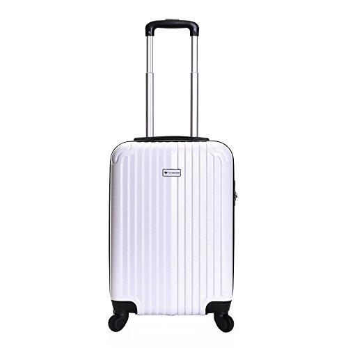 Slimbridge bagaglio a mano dura valigia rigida 55 cm 2,5 kg 35 litri con 4 ruote robuste e numero di blocco, Borba Bianco Perla