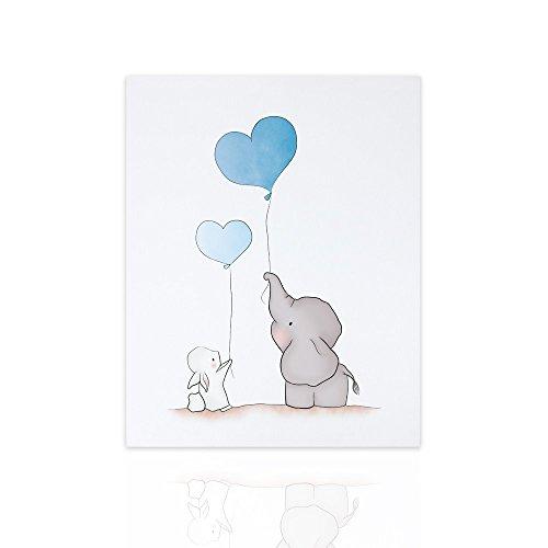 Declea pannello d'arredo elefantino e coniglietto pronto da appendere ideale per la cameretta dei vostri bambini arredo stanza bimbi canvas arte kids illustrazione animali - design