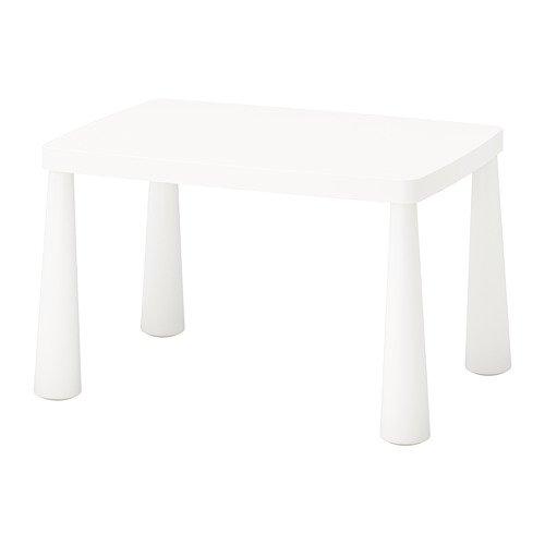 IKEA MAMMUT Kindertisch in weiß; für drinnen und draußen; (77x55cm)