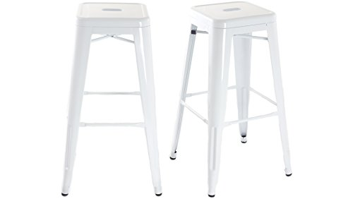 Tabouret de bar design industriel MANHATTAN (lot de 2) Blanc