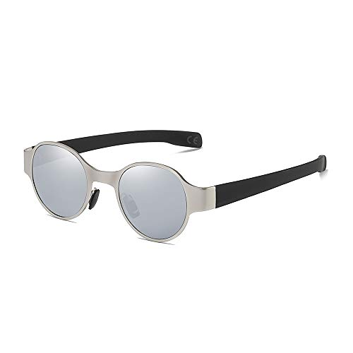 AMZTM Steampunk Sonnenbrille für Herren, Polarisierte Metall Punk Brille, Jahrgang Retro Mode Klein Runden Sonnenbrille, UV Schutz HD Vision (Silberne Rahmen Silberne Spiegel Linse)