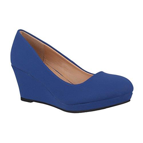 Elara Damen Pumps Keilabsatz Wedges Schuhe mit Plateau |Chunkyrayan B8011 Navy-40