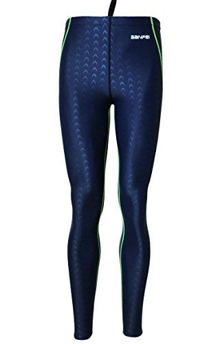 BANFEI Unisex Traje de Baño para Competición Bañador de Natación Hombre Secado Rápido Pantalones de Buceo Largos para Esnórquel Surf EU XL Azul(línea verde)