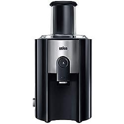 Braun J500 Multiquick Juicer - Licuadora Exprimidor, 900w, surtidor anti-salpicaduras, jarra de zumo 1,25 l, acero inoxidable, negro/plata