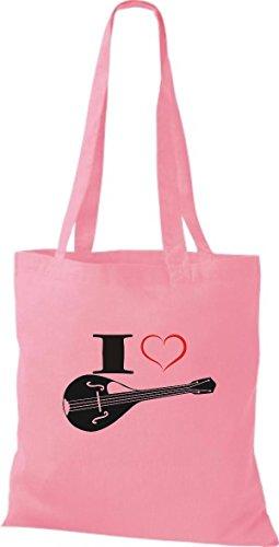Shirtstown Stoffbeutel Musik I love Mandoline Rosa