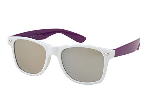 Rainbow Sonnenbrille verspiegelt für SIE & IHN weiß-lila Form: Vintage Retro
