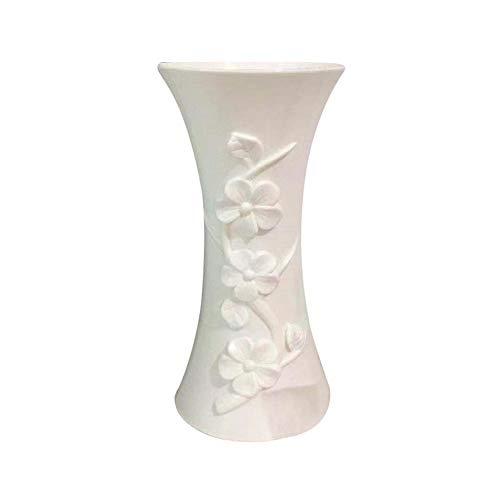 Jujujubezao - vaso in plastica goffrato, per composizioni floreali, decorazione da tavolo per casa e ufficio bianco