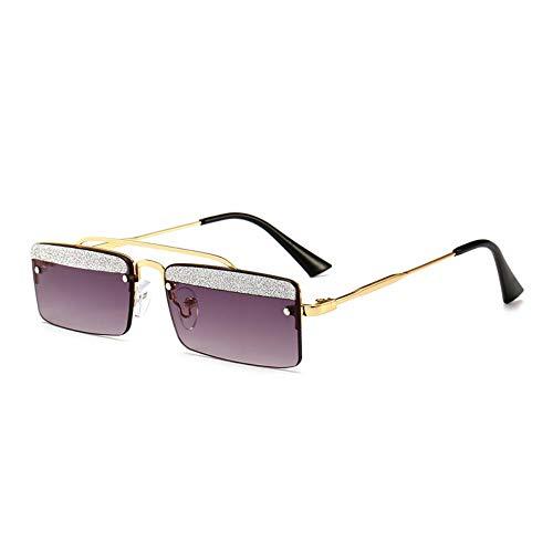 MJDABAOFA Sonnenbrillen,Kleines Quadrat Retro Sonnenbrillen Für Frauen Gold Gestell Grau Objektiv Two-Tone Shining Gradient Objektiv Sonnenbrillen Für Männer