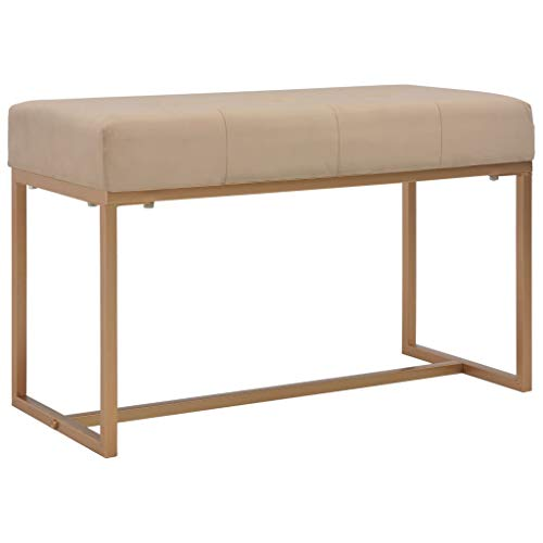 Festnight- Sitzbank 80cm Deko Samt-Bank | Polsterbank Flurbank Fu?Bank | für Esszimmer Schlafzimmer Küche, Wohnzimmer, Beige 80 x 36 x 51 cm