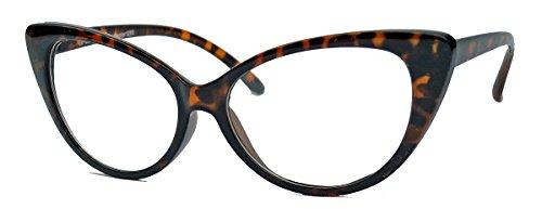 50er Jahre Damen Brille Cat Eye Nerdbrille Klarglas Brillengestell FARBWAHL KE (Braun)