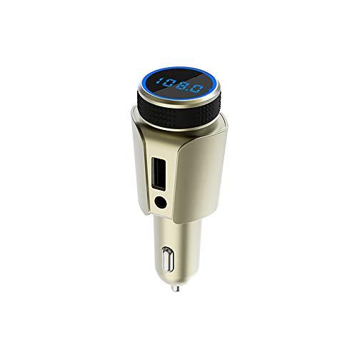 5.0FM Sender Zigarettenanzünder Car Kit, Blaue LED-Anzeige 2.1AUSB Schnellladeanschluss Unterstützung TF-Karte AUX, Freisprech-Sprachnavigation Musik Abspielen,Gold ()