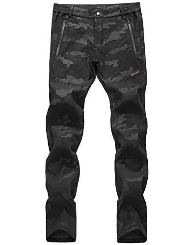 Ly4u donna all'aperto softshell impermeabile foderato in pile pantaloni escursionismo campeggio antivento pantaloni per autunno/inverno/primavera