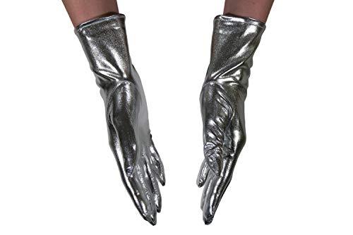 dressmeup - K0802S-SILVER Handschuhe Damen Herren Karneval Halloween Metallic Look Glänzend Silber Roboter SciFi (Roboter Kostüm Handschuhe)