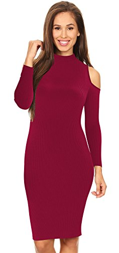 Warm Langarm Hohem Ausschnitt Schulterfrei Schulterfreies Kalte Schulter Gerippter Mini Minikleid Bodycon Etui Etuikleid Figurbetontes Sweater Pullover Strickpullover Kleid Burgund S (Sweater Neck Knit Mock Ribbed)