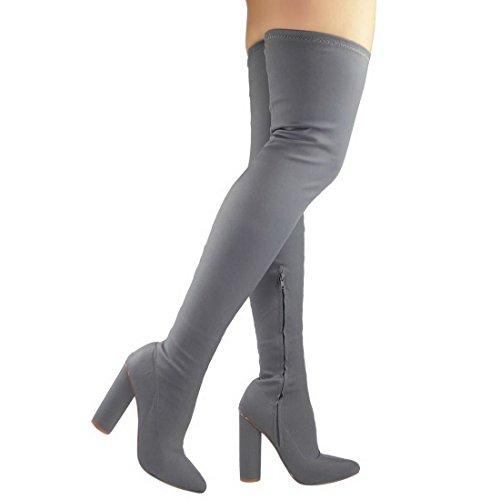 femmes Au-dessus Du Genou Cuisse TALON HAUT MASSIF élastique lycra bottes chaussures taille Gris