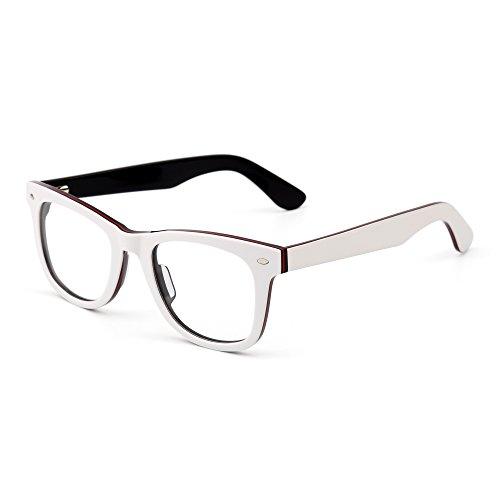 Montatura per Occhiali Classica Cerniera a Molla Lente Trasparente Occhiale da Vista Quadrati Uomo Donna (Bianco Nero/Trasparente)